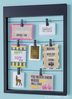 Clip notecards, photos and other mementoes onto a frame for an instantly trendy display!