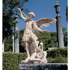 """Design Toscano St. Michael the Archangel Estate Angel Garden Statue by Design Toscano. $499.00. Cast in quality designer resin. Stone finish. After Reni's St. Michael. KY1152 One of the most popular images in European art, this grand-scale, museum-quality sculpture pays homage to the Renaissance work by Reni. An astonishingly detailed image, our more than four-foot-tall """"St. Michael"""" is cast in 49 lbs. of quality designer resin and finished to replicate fine marbl..."""