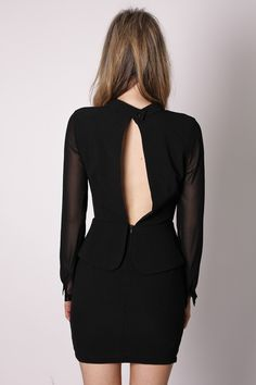 future long sleeve cocktail dress- midnight back