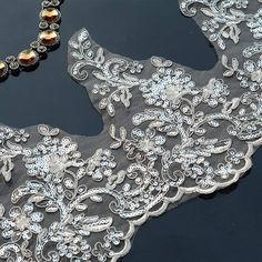 Off White Trim LaceSequins Lace Trim for Bridal Veil Wedding