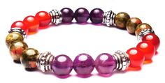 Amethyst, Carnelian, and Unakite are a special combination of stones said to help relieve the symptoms and fight the progression of Endometriosis. Additionally, Amethyst is known to treat cellular disorders, helps to regulate the hormones, and relieves physical pain. Unakite and Carnelian heal issues within the entire female reproductive system. #endometriosisrelief #endometriosis #hormones #physicalpain #pain #reproductivesystem #TheMagicIsInYou #crystals #crystalhealing #crystalbracelet