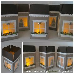Eine wunderschöne Weihnachstdeko sind diese Lichterhäuschen, die mit dem Punchboard für Geschenktüten entstanden sind. Eine Anleitung finde...