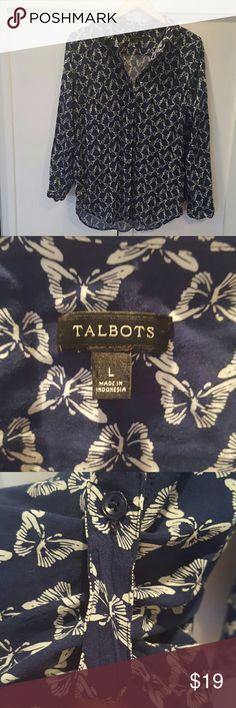 Talbots butterfly button down blouse Blue and white butterfly in perfect condition only worn once. Sleeves can be worn full length or buttoned up with tab as shown in picture Talbots Tops Blouses