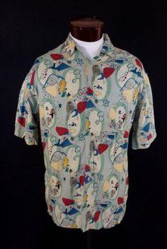 Vintage Campia Moda Green Atomic Style Lounge Print Hawaiian Shirt – Large #CampiaModa #Hawaiian