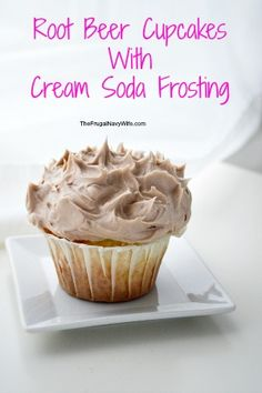 Root Beer Cupcakes With Cream Soda Frosting #recipe via The Frugal Navy Wife