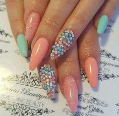 Colors are popping! Creative Nail Designs, Colorful Nail Designs, Toe Nail Designs, Creative Nails, Rhinestone Nails, Bling Nails, Swag Nails, Beautiful Nail Art, Gorgeous Nails