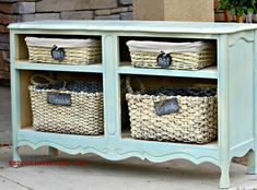 Dresser missing drawers transformed into shelving using existing parts from the dresser! Check out how to transform your broken furniture with CeCe Caldwell's Paints and some DIY. REDOUXINTERIORS.COM FACEBOOK: REDOUX