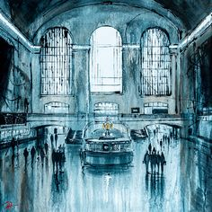 30″ x 30″, Mixed media painting on boxed canvas by cityscsape artist Paul Kenton  Grand Central Station in New York, painted with a monochrome colour palette and finished with Paul's signature black and white dripping technique. Splashes of wet paint diffuse throughout the piece, creating subtle texture and a freshly-painted feel. A soft glow of light is cast upon the scene, emphasised by hints of metallic gold paint, and the glimmering clock standing as a focal point in the centre.  Monochrome Color, Mixed Media Painting, Monochrome, Painting, New York Painting, Cityscape Painting, Monochrome Painting, Paul Kenton, Metallic Gold Paint