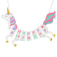 Unicorn Happy Birthday Banner - Unicorn Party Supplies Decorations - PREMIUM Unicorn Birthday Party Magical Pastel Design with Sparkle Gold Glitter! NEW for 2018, Cute, Glossy, and Pre-assembled