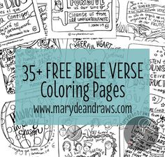 Hop over to Mary Dean Draws for more than 35 (and always adding) FREE hand-drawn Bible verse coloring pages for children and adults to learn the Bible in a