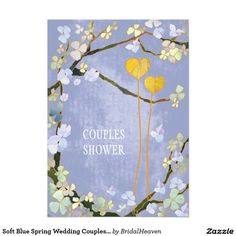 Soft Blue Spring Wedding Couples Shower Card Cute orangish yellow hearts (tied to tree branches) + lovely spring flowers + rustic powder blue background illustrated on custom Couples Shower Invitations. Whimsical, unique & lyrical wedding stationary design especially great for your spring or summer wedding shower! All the sample text can be fully customized with your own wording. Feel free to change the typefaces, colors & sizes of the text as well. (You can find the matching wedding…