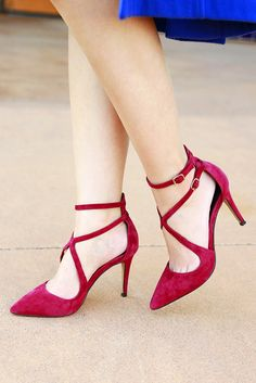 Strappy suede heels in a rich burgundy for the holidays