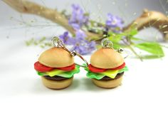 Burger Earrings by beadpassion on Etsy