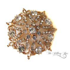Rose Gold / Brooch / Vintage Style Brooch / Brooch Wedding Bouquet / Rhinestone Brooch / Women's Gift Ideas / Brooches / Pin/ Bridal Jewelry by TheJilleryBox on Etsy https://www.etsy.com/listing/264233248/rose-gold-brooch-vintage-style-brooch