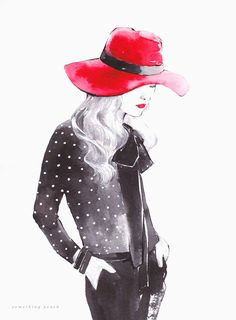 Watercolor Woman Red Hat | Illustration by Jinny Park