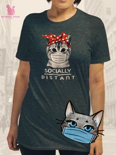 Keep distant & stay safe 😸 Friends Show, Cat Shirts, Black And Navy, Stay Safe, Cat Breeds, Cat Memes, Funny Cats, Stylish, Cotton