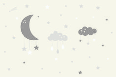 If you're looking to create a charming and calming space in your baby's nursery, our uniqueBaby Clouds and Moon Wall Mural design features a large clouds and a crescent moon that act as baby cot mobiles, with little stars and raindropshanging from them. This adorable mural has muted a soft beige and taupe color palette... Read more »