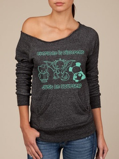 Dragon Panda Owl Oversized Sweater  BE YOURSELF  by ReLovePlanet, $65.00