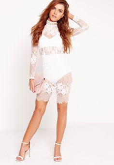 Missguided - Lace High Neck Bodycon Dress White