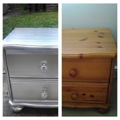 Up Cycled Solid Pine Bedside Cabinet. Rust Oleum Silver Spray Paint And  Glass
