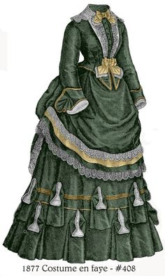 1872 Victorian Bustle Dress pattern - sized for you from antique original - with bonus patterns for lingerie, accessories, library - Source by radrose dresses Victorian Era Fashion, 1870s Fashion, Victorian Women, Vintage Fashion, Vintage Outfits, Vintage Gowns, English Dress, Bustle Dress, Vintage Mode