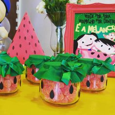 Baby Shower Watermelon, Watermelon Birthday Parties, Fruit Birthday, 2nd Birthday Party Themes, Fruit Party, Birthday Decorations, Hawaian Party, Little Girl Birthday, Tropical Party