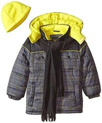 iXtreme Boys' Puffer Coat In Plaid with Hat and Scarf Set