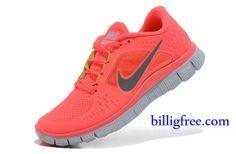 Verkaufen billig Schuhe Damen Nike Free Run 3 (Farbe:vamp,innen-rot,logo-grau;Sohle-weiB) Online in Deutschland.