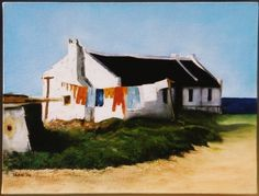 fishermans – Google Search Fishermans Cottage, Artistic Tile, Fruit Painting, South African Artists, Beach Cottages, Drawing Techniques, Painted Rocks, Painting & Drawing, Landscape Paintings