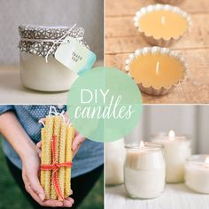 Homemade Treasures: 10 DIY Candles-definitely going to give a couple of these a try.  Love natural non-petroleum based candles!