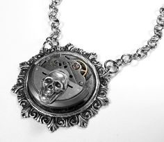 Steampunk Necklace - Steampunk Jewelry by edmdesigns http://www.edmdesigns.etsy.com    Steampunk Necklace - Vintage Silver Jeweled Watch Mechanism