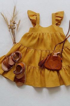 Summer Vibes ☀️🌿 Adorable kids outfit by featuring our Cross Over Scallop Sandal in Cognac. Summer Vibes ☀️🌿 Adorable kids outfit by featuring our Cr. Dresses Kids Girl, Little Girl Outfits, Little Girl Fashion, Toddler Outfits, Kids Fashion, Cute Baby Outfits, Babies Fashion, Korean Fashion, Cute Baby Clothes