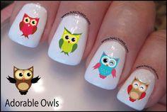 Owl Nail Decal Adorable Owl Design Nail Art. $4/set of 20