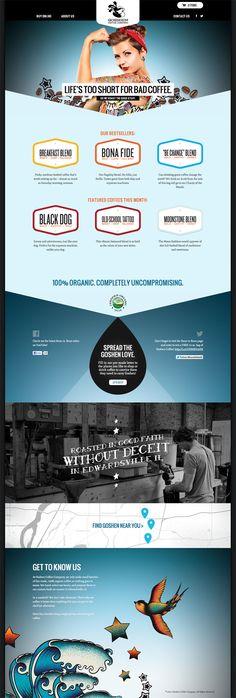 Goshen Coffee website design, Atomic Dust