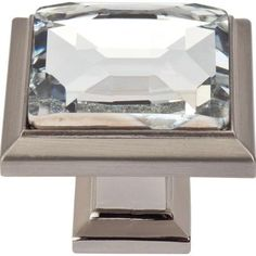 atlas homewares legacy crystal collection in brushed nickel square cabinet knob the home depot