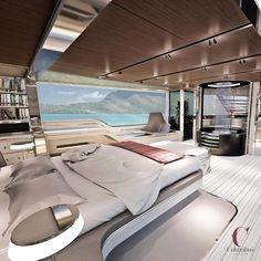Amazing Modern Floating Bed Design With Under Light Big Bedrooms, Awesome Bedrooms, Modern Bedrooms, Modern Bedding, Contemporary Bedroom, Modern Villa Design, Modern Bathroom Design, Yacht Design, Bed Design