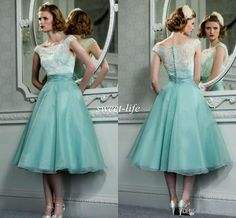 Vintage Lace Bridesmaid Dresses Tea Length Mint Green Hepburn Style 2015 A  Line Bateau Cap Organza 524a1531e584