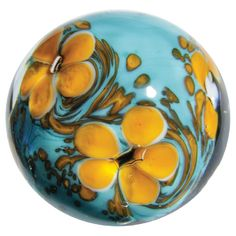 """Handmade Art Glass """"Cosmos"""" Marble w Stand Marble Toys, Marble Art, Cosmos, Old Pottery, Orange And Turquoise, Types Of Lighting, Glass Marbles, Light Reflection, Blue Art"""