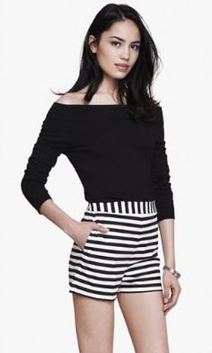 OFF THE SHOULDER FITTED SWEATER from EXPRESS
