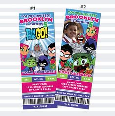 Teen Titans Inspried Birthday Ticket Invitation by ChaliceTee 4th Birthday Parties, 10th Birthday, Birthday Stuff, Birthday Ideas, Happy Birthday, Ticket Invitation, Printable Birthday Invitations, Custom Invitations, Teen Titans Cyborg