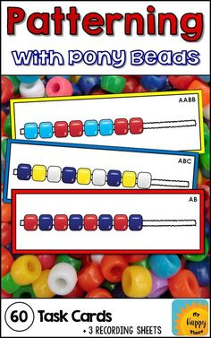 Pony Beads Pattern Task Cards These pony beads patterning task cards are great for fine motor and patterns practice! Use with pipe cleaners or laces in preschool and kindergarten. Such an easy to set up center! Kindergarten Centers, Math Classroom, Teaching Math, Math Centers, Math Activities, Preschool Activities, Preschool Colors, Library Activities, Math Resources