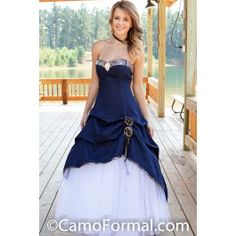 Camo Formal Goes West! With Western themed products and favors!Sweetheart a-line pickup dress with net skirt.Highlighted with a waterfall rhinestone pin.The matching flower-girl dress is 3011fg Pictured in Denim and APG Realtree.Available in Denim and all camo patterns and in sizes 2-30.Made in the USA. Country Western Wedding Prom Grad Outdoor Camo Hunters Weddings