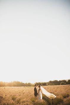 Rustic wedding in a lavender field