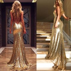 Sparkly Cheap Gold Indian Evening Dresses Long Sexy V Neck Backless Pageant Prom Gowns Mermaid Sequins L335