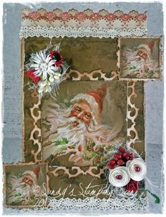 Christmas Card by LLC DT Member Sandra Mathis, using images and paper from Landstoken.