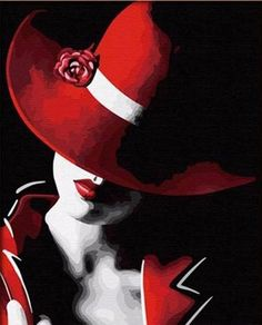 Red Hat Lady #OilPaintingFashion #OilPaintingRed