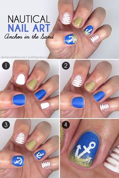 Get beachy with anchor nails, perfect for poolside sipping and warm summer parties! #summernails #anchor