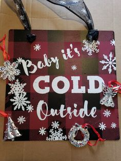 Chalk Couture: Baby it's Cold Outside reusabe silkscreen transfer, buffalo plaid transfer. Holiday Wood Crafts, Diy Christmas, Christmas Decorations, Painted Wooden Signs, Magnetic Chalkboard, Its Cold Outside, Buffalo Plaid, Diys, The Outsiders