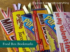 Food Box Bookmarks - Organize and Decorate Everything These would be so cute tucked in a book and given as a gift or just make some for yourself.
