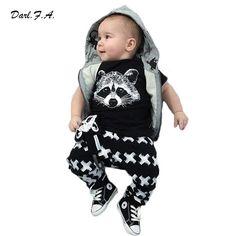 2016 Summer Baby Boy ClothING SET Cotton Fox-Shirts + Cross Pants-2 Pcs Set